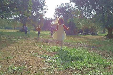 La corsa dei bambini tra gli uliveti nel film Replay